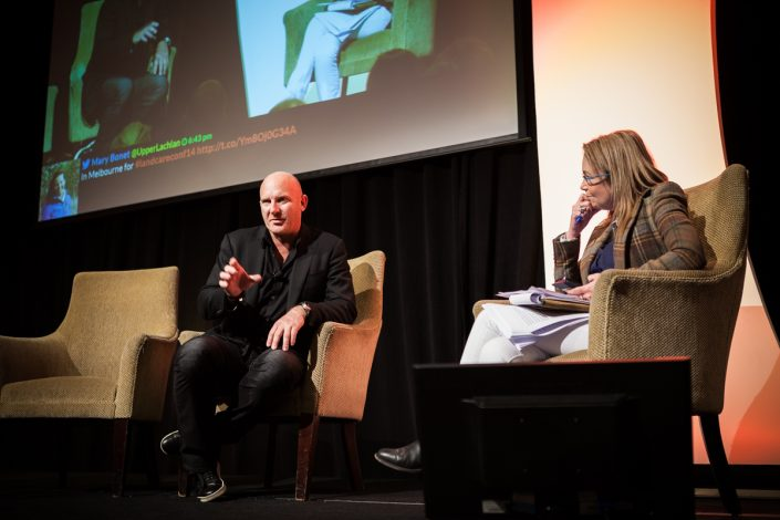 Matt Moran & Pip Courtney on stage talking at National Landcare Conference 2014